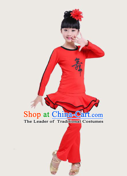 Top Grade Chinese Compere Professional Performance Catwalks Costume, Children Latin Dance Red Uniform Modern Dance Dress for Girls Kids