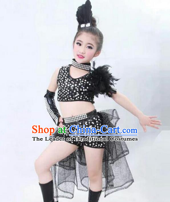 Top Grade Chinese Compere Professional Performance Catwalks Costume, Children Jazz Dance Full Dress Modern Dance Trailing Dress for Girls Kids