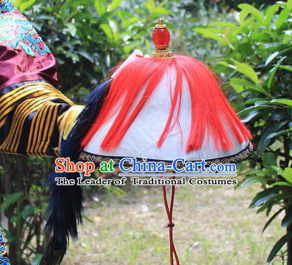 Traditional China Beijing Opera Officer Minister Hat, Ancient Chinese Peking Opera Qing Dynasty Manchu Eunuch Headwear Flowers Ling