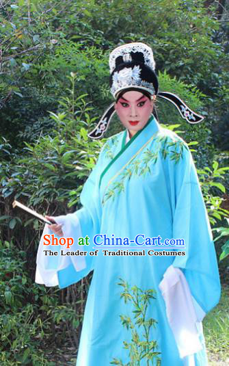 Traditional China Beijing Opera Niche Costume Lang Scholar Blue Embroidered Robe and Headwear, Ancient Chinese Peking Opera Embroidery Gwanbok Clothing