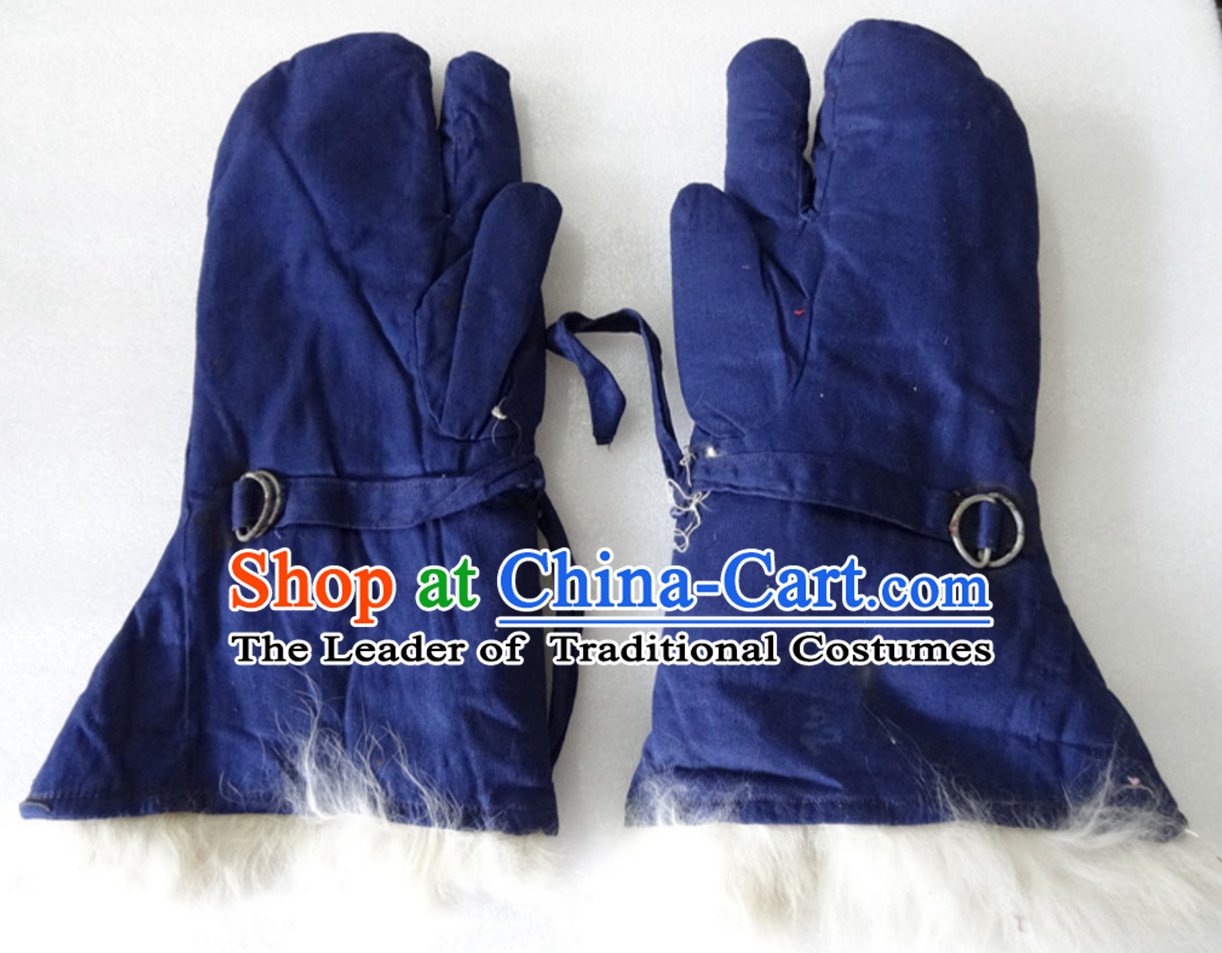 Traditional Chinese Classical Style Handmade Sheep Wool Gloves