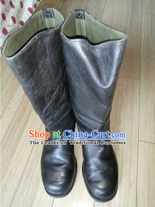 Traditional Chinese Classical Style Handmade Farmer Old Leather Boots