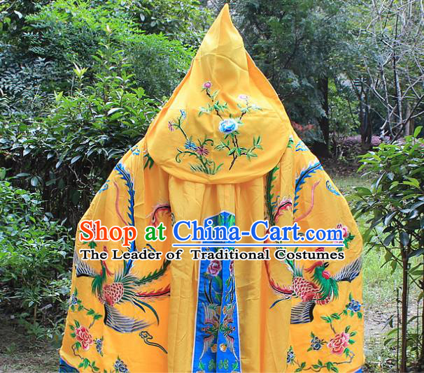 Traditional China Beijing Opera Young Lady Costume Diva Embroidered Yellow Cloak, Ancient Chinese Peking Opera Hua Tan Embroidery Cape Clothing