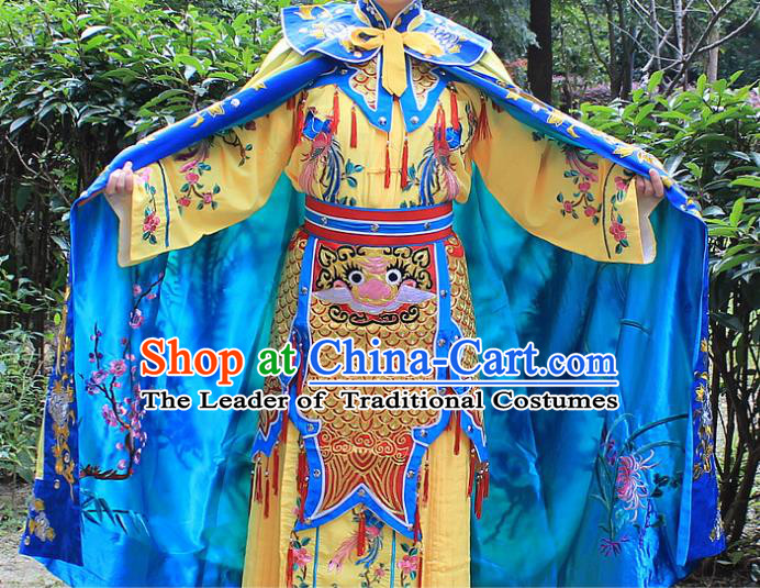 Traditional China Beijing Opera Young Lady Costume Swordplay Embroidered Cape and Headwear, Ancient Chinese Peking Opera Blues Female Embroidery Dress Clothing