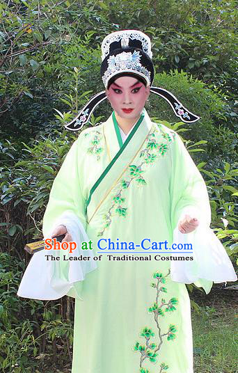 Traditional China Beijing Opera Niche Costume Lang Scholar Embroidered Robe and Headwear, Ancient Chinese Peking Opera Embroidery Green Xiucai Gwanbok Clothing