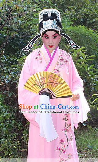 Traditional China Beijing Opera Niche Costume Scholar Embroidered Robe and Headwear, Ancient Chinese Peking Opera Embroidery Pink Xiucai Gwanbok Clothing