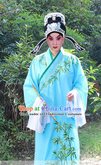 Traditional China Beijing Opera Niche Costume Scholar Embroidered Robe and Headwear, Ancient Chinese Peking Opera Embroidery Blue Xiucai Gwanbok Clothing