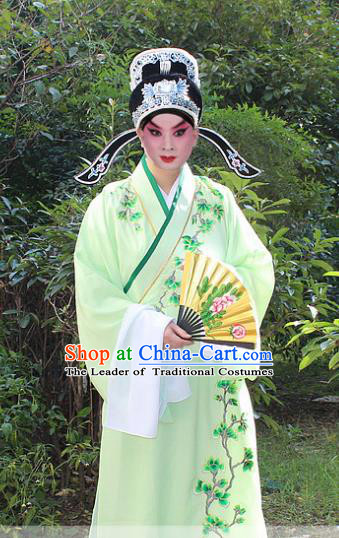 Traditional China Beijing Opera Niche Costume Scholar Embroidered Robe and Headwear, Ancient Chinese Peking Opera Embroidery Green Xiucai Gwanbok Clothing