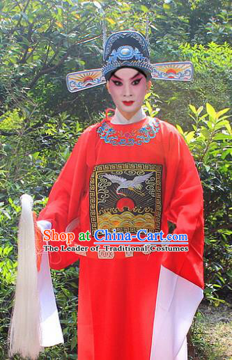 Traditional China Beijing Opera Niche Costume Lang Scholar Embroidered Robe and Headwear, Ancient Chinese Peking Opera Embroidery Magistrate Red Gwanbok Clothing