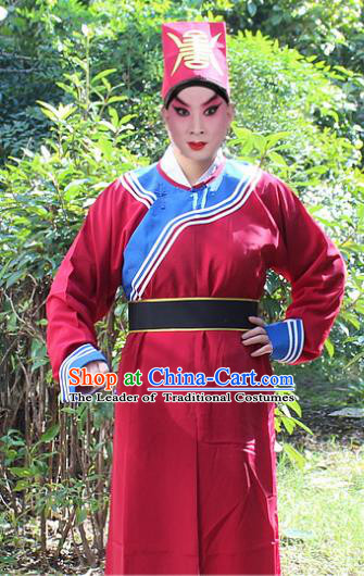 Traditional China Beijing Opera Song Dynasty Government Runners Costume and Headwear, Ancient Chinese Peking Opera Takefu Clothing