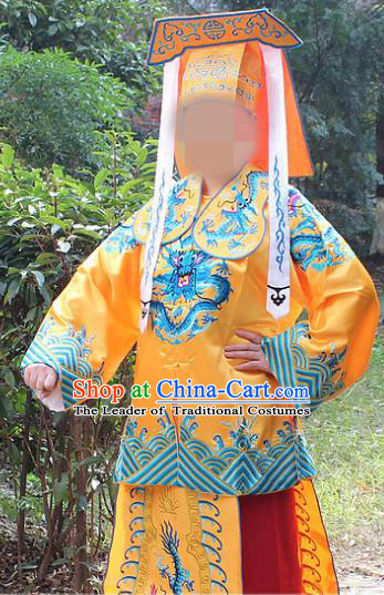 Traditional China Beijing Opera Takefu Costume Imperial Bodyguard Yellow Embroidered Robe and Hat, Ancient Chinese Peking Opera Embroidery Gwanbok Clothing
