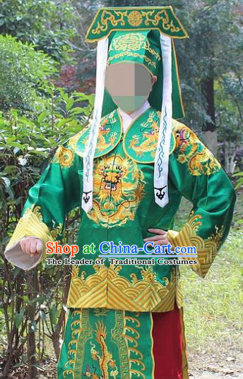 Traditional China Beijing Opera Takefu Costume Imperial Bodyguard Green Embroidered Robe and Hat, Ancient Chinese Peking Opera Embroidery Gwanbok Clothing