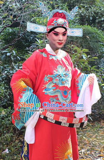 Traditional China Beijing Opera Niche Costume Lang Scholar Red Embroidered Robe and Hat, Ancient Chinese Peking Opera Embroidery Magistrate Gwanbok Clothing
