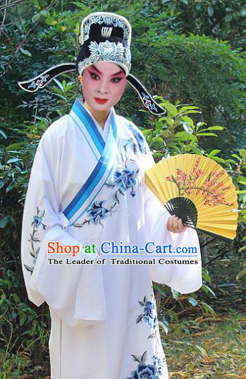Traditional China Beijing Opera Niche Costume Scholar Embroidered Robe and Headwear, Ancient Chinese Peking Opera Embroidery Peony Gwanbok Clothing