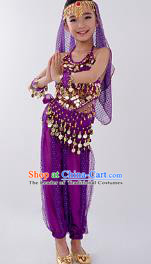 Traditional Indian Classical Dance Belly Dance Costume, India China Uyghur Nationality Dance Clothing Purple Paillette Uniform for Kids