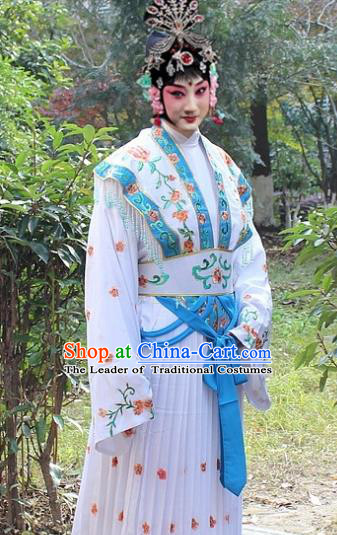 Traditional China Beijing Opera Hua Tan Costume Embroidered Dress, Ancient Chinese Peking Opera Female Diva Embroidery Dress Clothing