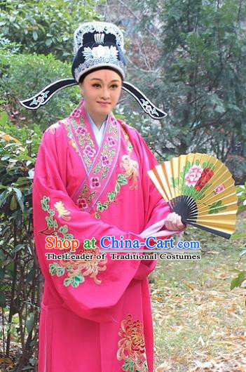 Traditional China Beijing Opera Niche Costume Scholar Peach Pink Embroidered Robe and Hat, Ancient Chinese Peking Opera Embroidery Chrysanthemum Clothing