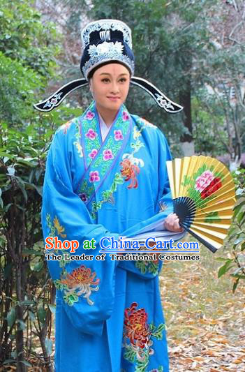 Traditional China Beijing Opera Niche Costume Scholar Blue Embroidered Robe and Hat, Ancient Chinese Peking Opera Embroidery Chrysanthemum Clothing