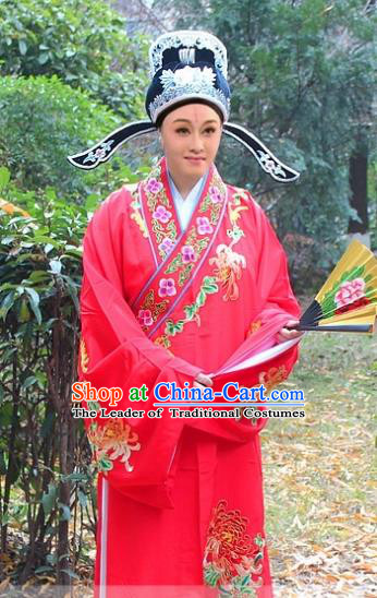 Traditional China Beijing Opera Niche Costume Scholar Red Embroidered Robe and Hat, Ancient Chinese Peking Opera Embroidery Chrysanthemum Clothing