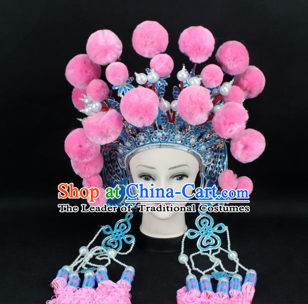 Traditional China Beijing Opera Swordplay Hair Accessories Pink Venonat Hat, Ancient Chinese Peking Opera Blues Headwear Phoenix Coronet