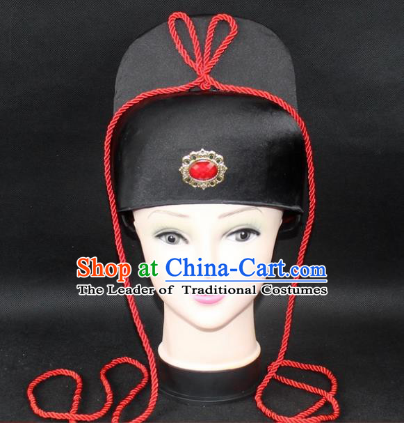 Traditional China Beijing Opera Young Men Hair Accessories Imperial Bodyguard Headwear, Ancient Chinese Peking Opera Niche Hat