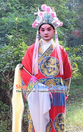 Traditional China Beijing Opera Costume Eunuch Red Embroidered Robe and Headwear, Ancient Chinese Peking Opera Embroidery Gwanbok Clothing