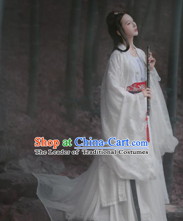 Traditional Ancient Chinese Young Lady Costume, Elegant Hanfu Clothing Chinese Jin Dynasty Imperial Princess Tailing Embroidered Dress Clothing for Women