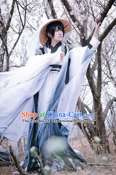 Traditional Ancient Chinese Swordsman Costume, Elegant Hanfu Clothing Chinese Jin Dynasty Kawaler Robe Clothing for Men
