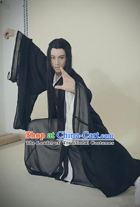 Traditional Ancient Chinese Swordsman Costume, Elegant Hanfu Clothing Chinese Jin Dynasty Kawaler Clothing for Men