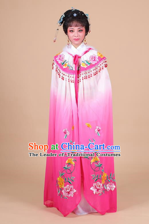 Traditional China Beijing Opera Young Lady Hua Tan Costume Female Embroidered Cloak, Ancient Chinese Peking Opera Diva Embroidery Rosy Mantle Clothing