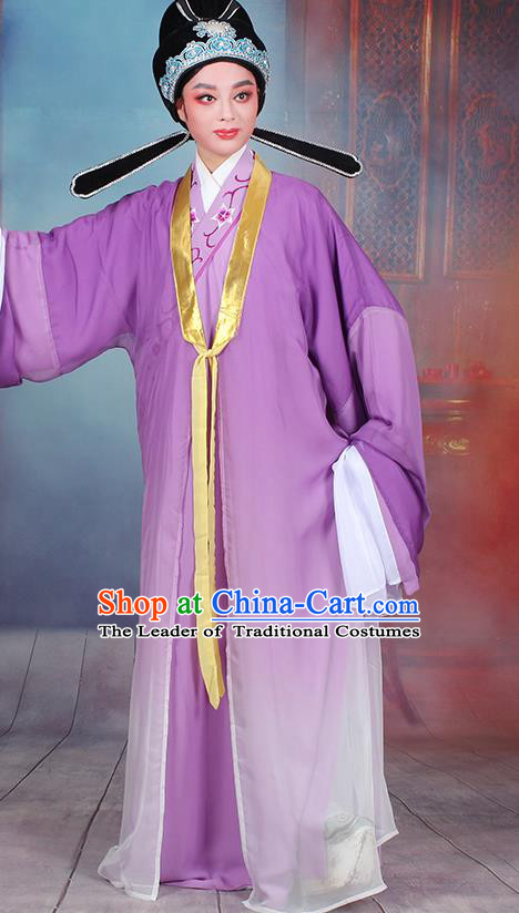 Traditional China Beijing Opera Niche Costume Gifted Scholar Embroidered Robe and Headwear, Ancient Chinese Peking Opera Embroidery Purple Clothing