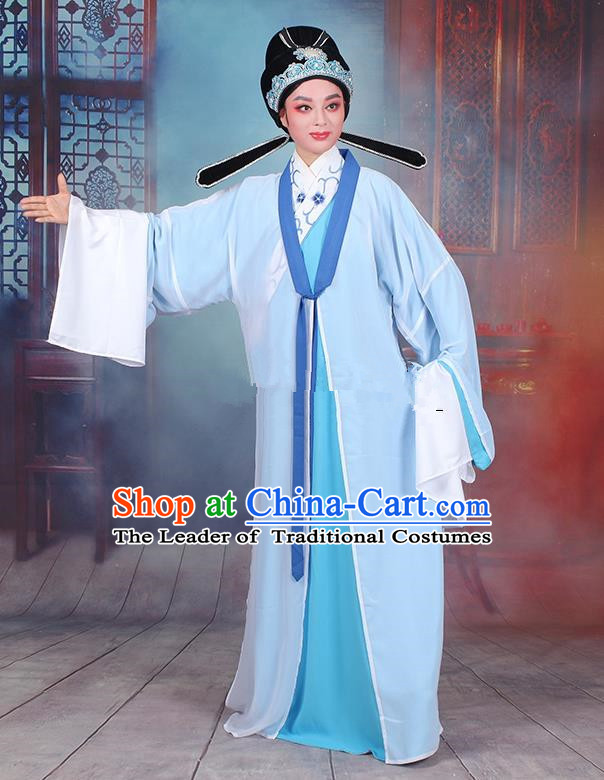 Traditional China Beijing Opera Niche Costume Gifted Scholar Embroidered Robe and Headwear, Ancient Chinese Peking Opera Embroidery Blue Clothing