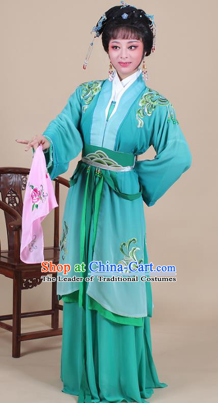 Traditional China Beijing Opera Young Lady Hua Tan Costume Female Green Clothing, Ancient Chinese Peking Opera Diva Embroidery Dress
