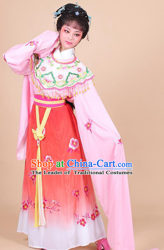 Traditional China Beijing Opera Young Lady Hua Tan Costume Female Water Sleeve Dance Pink Clothing, Ancient Chinese Peking Opera Diva Embroidery Plum Blossom Dress