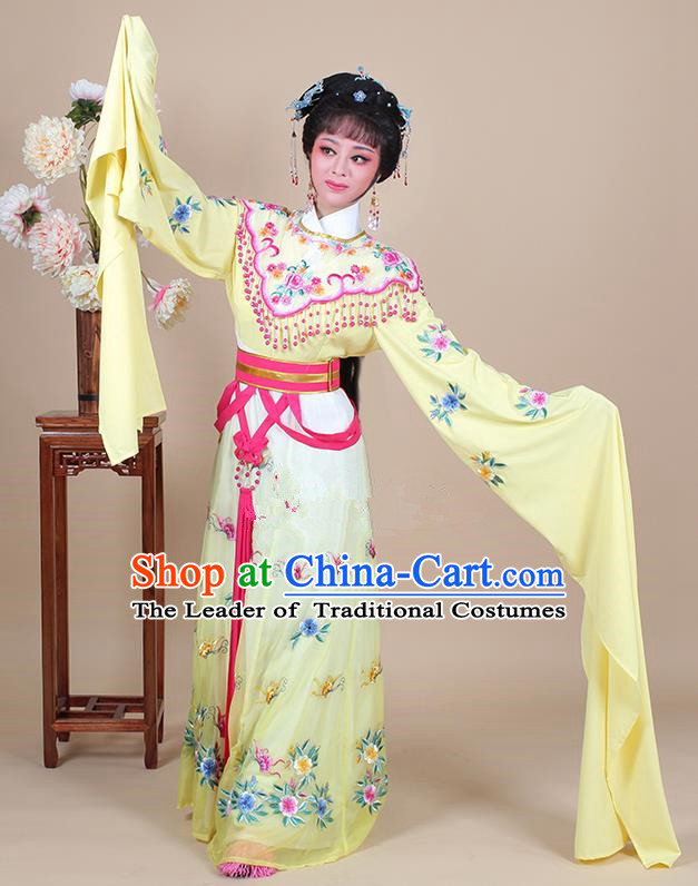 Traditional China Beijing Opera Young Lady Hua Tan Costume Female Princess Clothing, Ancient Chinese Peking Opera Diva Embroidery Yellow Dress