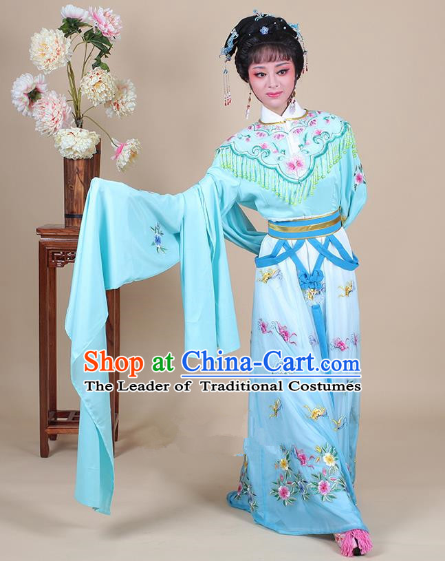 Traditional China Beijing Opera Young Lady Hua Tan Costume Female Princess Clothing, Ancient Chinese Peking Opera Diva Embroidery Blue Dress
