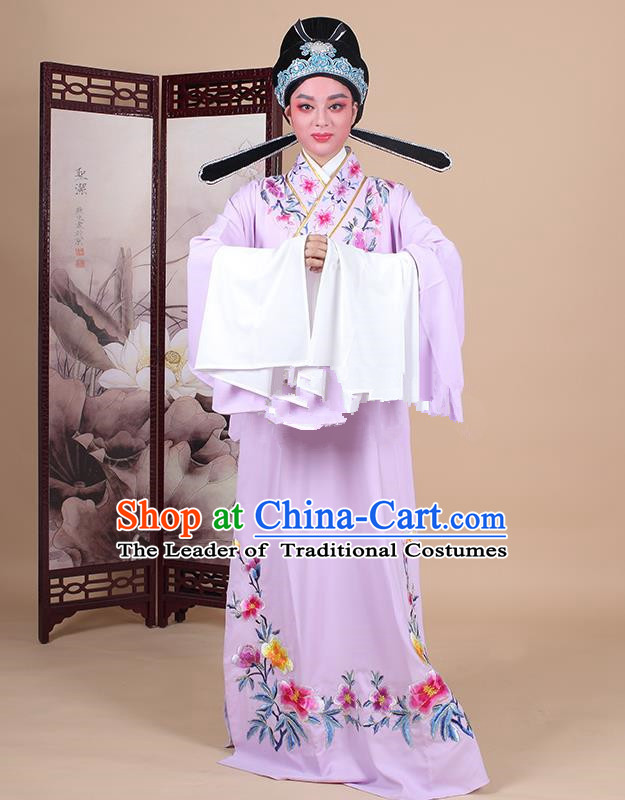 Traditional China Beijing Opera Niche Costume Lang Scholar Embroidered Purple Robe and Headwear, Ancient Chinese Peking Opera Embroidery Clothing