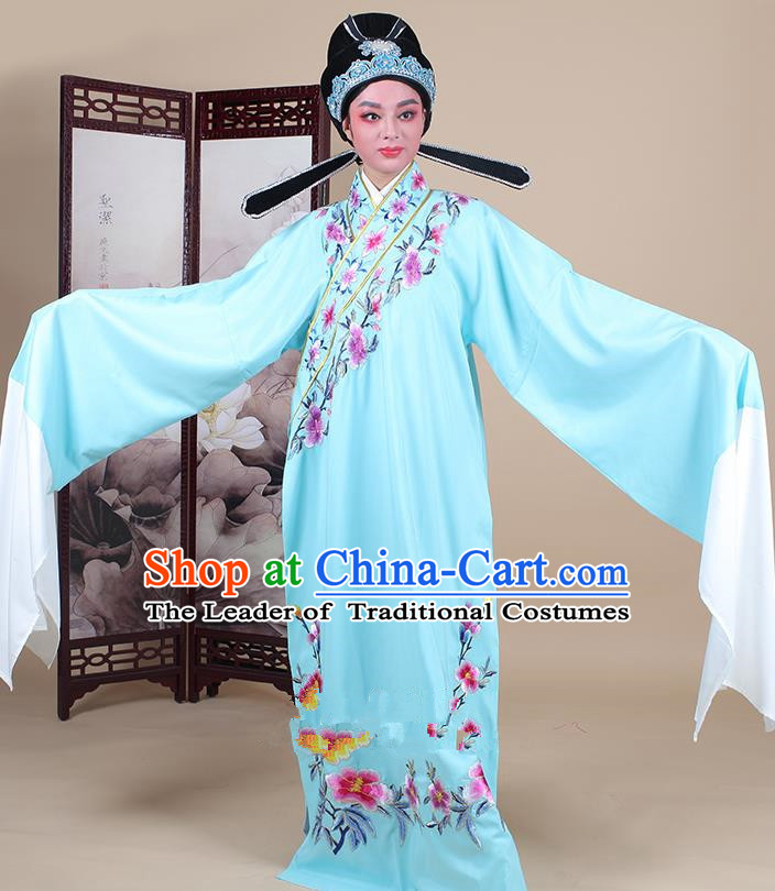 Traditional China Beijing Opera Niche Costume Lang Scholar Embroidered Blue Robe and Headwear, Ancient Chinese Peking Opera Embroidery Clothing