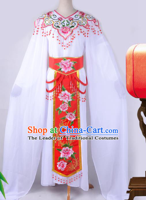 Traditional China Beijing Opera Young Lady Hua Tan Costume Cloud Shoulder Embroidered Clothing, Ancient Chinese Peking Opera Diva Embroidery Red Dress Clothing