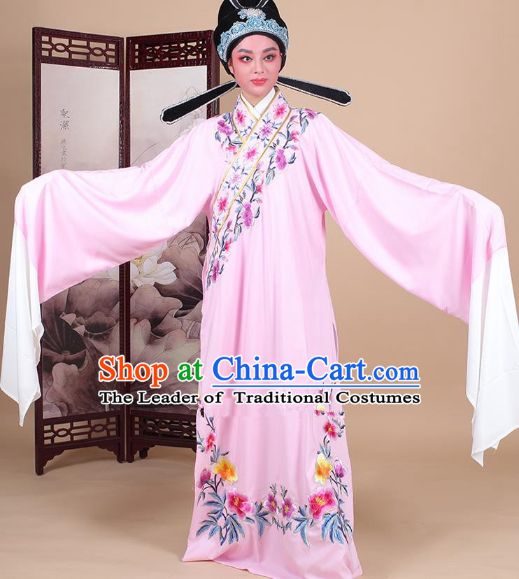 Traditional China Beijing Opera Niche Costume Lang Scholar Embroidered Pink Robe and Headwear, Ancient Chinese Peking Opera Embroidery Clothing