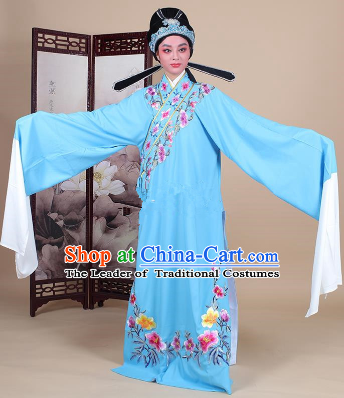 Traditional China Beijing Opera Niche Costume Lang Scholar Embroidered Deep Blue Robe and Headwear, Ancient Chinese Peking Opera Embroidery Clothing