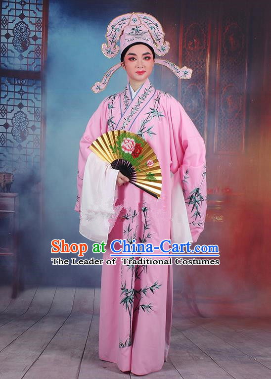 Traditional China Beijing Opera Niche Costume Gifted Scholar Pink Embroidered Robe and Headwear, Ancient Chinese Peking Opera Embroidery Bamboo Clothing