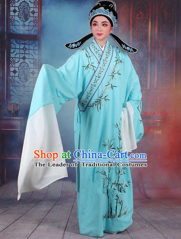 Traditional China Beijing Opera Niche Costume Gifted Scholar Blue Embroidered Robe and Headwear, Ancient Chinese Peking Opera Embroidery Bamboo Clothing
