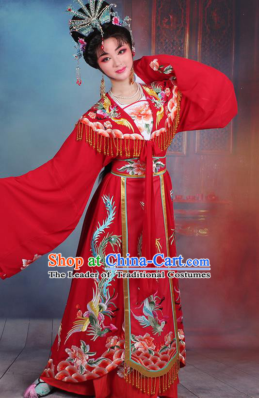 Traditional China Beijing Opera Young Lady Hua Tan Costume Diva Red Embroidered Cape, Ancient Chinese Peking Opera Imperial Concubine Embroidery Dress Clothing