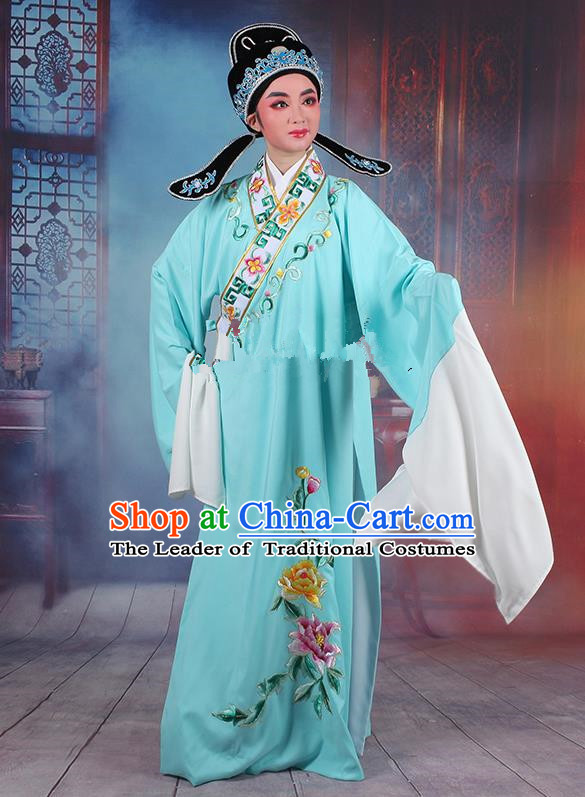 Traditional China Beijing Opera Young Men Costume Lang Scholar Blue Embroidered Robe, Ancient Chinese Peking Opera Niche Embroidery Clothing