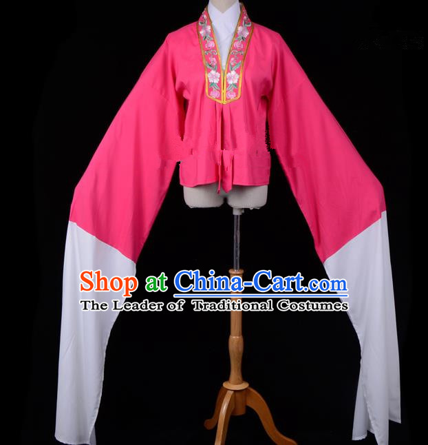 Traditional China Beijing Opera Young Lady Hua Tan Costume Princess Embroidered Rosy Blouse, Ancient Chinese Peking Opera Diva Embroidery Water Sleeve Clothing