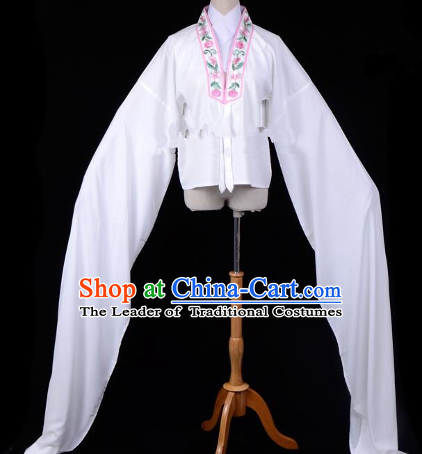 Traditional China Beijing Opera Young Lady Hua Tan Costume Princess Embroidered White Blouse, Ancient Chinese Peking Opera Diva Embroidery Water Sleeve Clothing