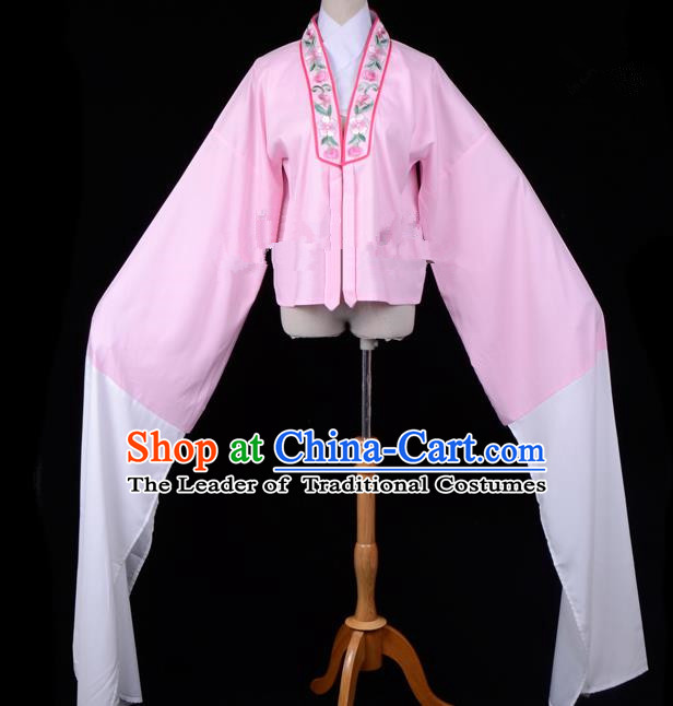 Traditional China Beijing Opera Young Lady Hua Tan Costume Princess Embroidered Pink Blouse, Ancient Chinese Peking Opera Diva Embroidery Water Sleeve Clothing