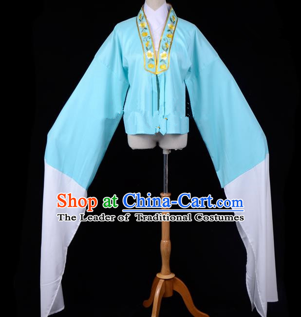 Traditional China Beijing Opera Young Lady Hua Tan Costume Princess Embroidered Blue Blouse, Ancient Chinese Peking Opera Diva Embroidery Water Sleeve Clothing