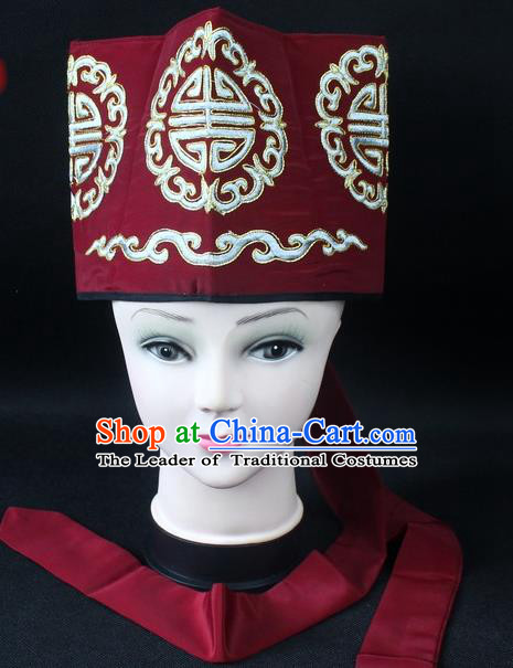 Traditional China Beijing Opera Hair Accessories Lao-Sheng Hat, Ancient Chinese Peking Opera Embroidery Amaranth Landlord Hat